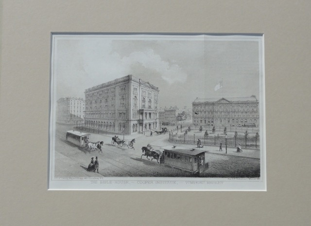Manhattan: Bible House, Cooper Institute & Thompkins Market, c. 1861