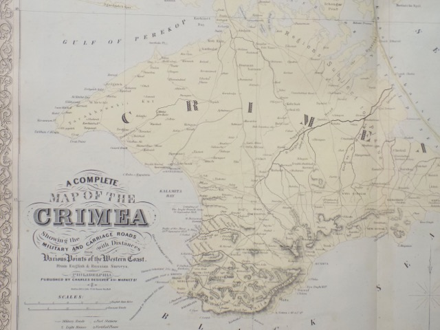Crimean Map (Sebastopol Harbor) by DeSilver, 1856