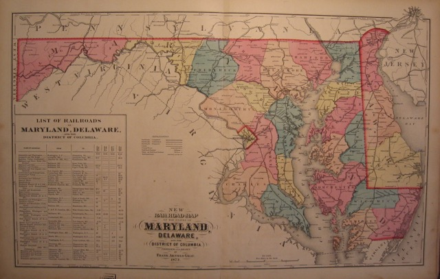 Railway Map of Maryland and Delaware