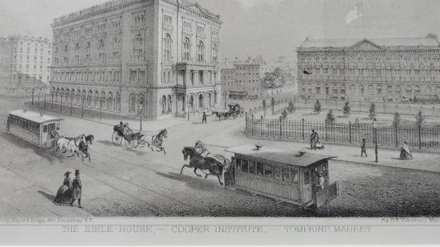 Manhattan: Bible House, Cooper Institute & Thompkins Market, c. 1861