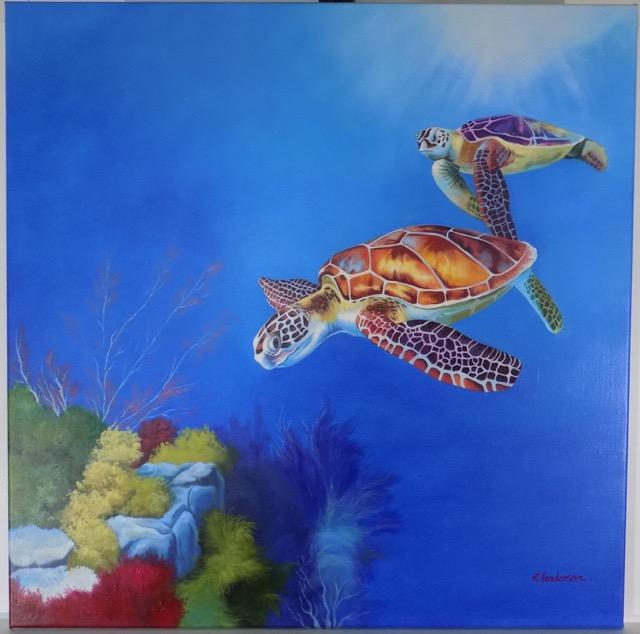 Sea Turtles, Original Oil on canvas